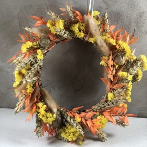 autumnal dried flower wreath harvest festival